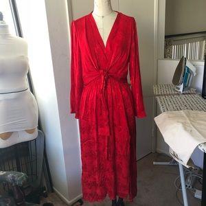 Midi length red snake skin dress